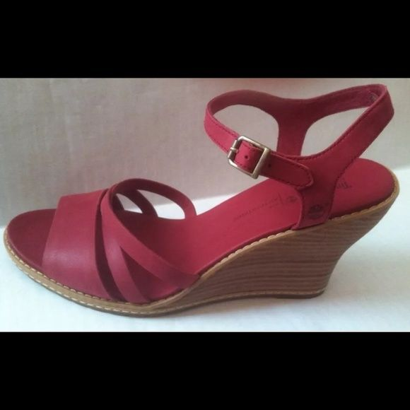 New Red Leather wedge sling-backs shoes Timberland New Timberlake shoes size 9 Heel is 3.5 inches Real soft leather They measure 10.5 inches big toe to heel length , and  3.5 in wide in the ball of foot  Very comfortable shoe  Soft leather upper and insole Timberland Shoes Wedges