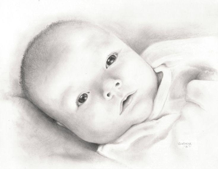 Custom Newborn Drawing, Baby Illustration, Memory Sketch ...