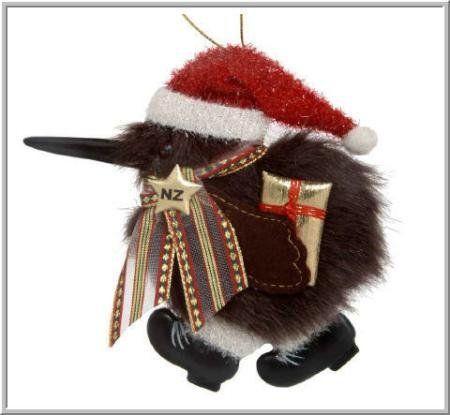 Santa New Zealand Kiwi Christmas Ornament