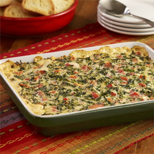A warm creamy spinach dip recipe with Ro*Tel tomatoes and onion for an easy baked appetizer