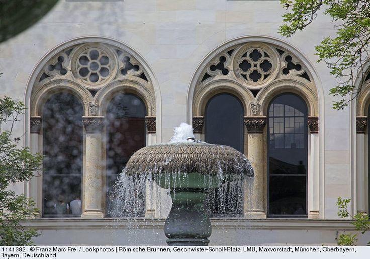 Roman fountains, Geschwister-Scholl-Platz and main entrance, LMU, Maxvorstadt, Munich, Upper Bavaria, Bavaria, Germany
