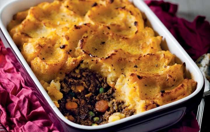 Ostrich cottage pie topped with butternut mash
