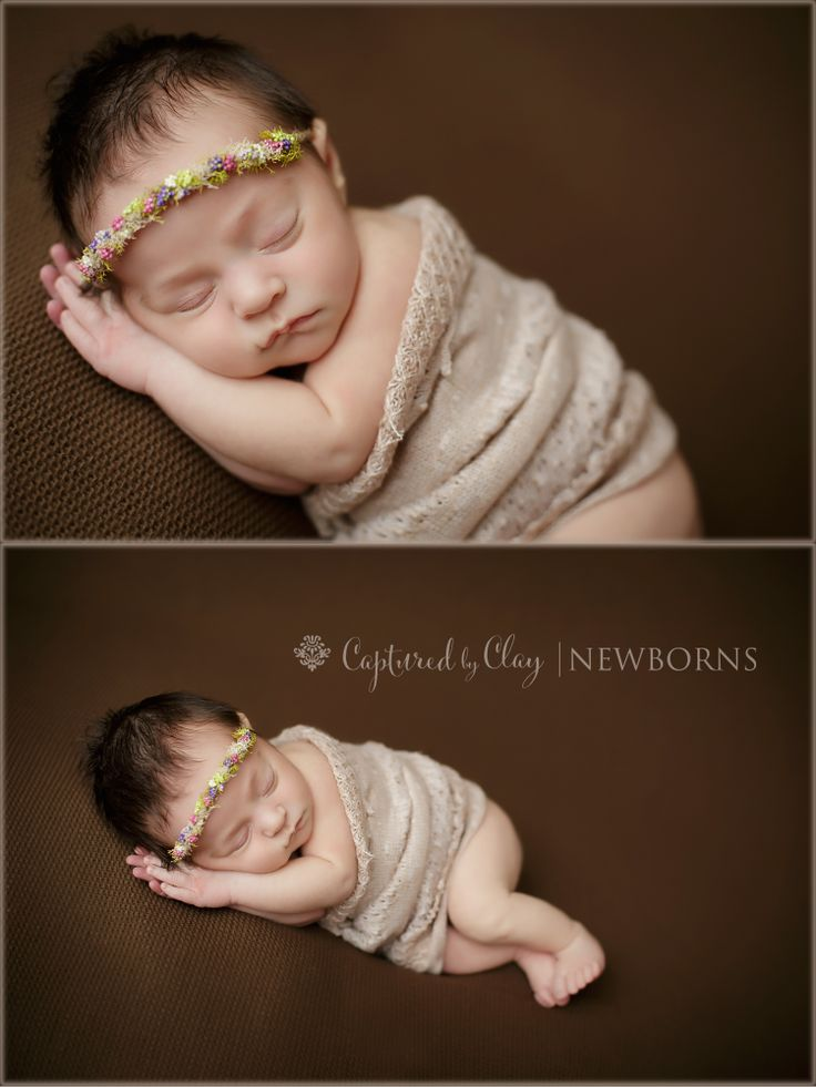 Brown backdrop flower tieback side lay pose newborn photography central ky newborn