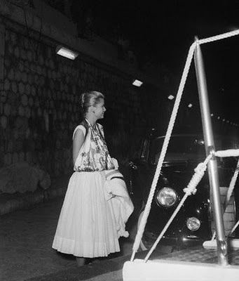 Princess Grace of Monaco Wearing a Hermes Scarf as a Sling While Recovering From a Broken Arm