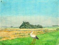 Stork in landscape by Johannes Larsen