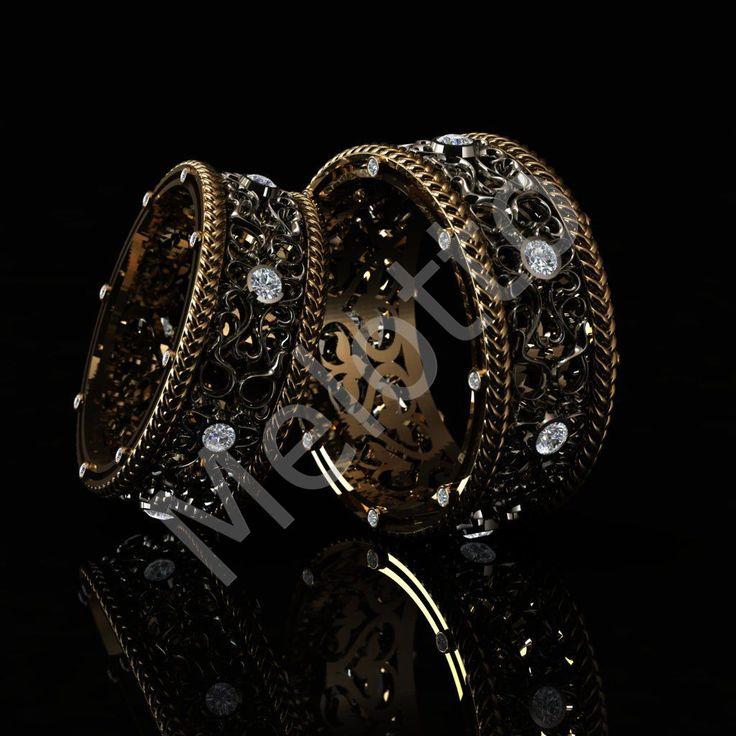 Дизайнерские обручальные кольца с орнаментом 20B003
