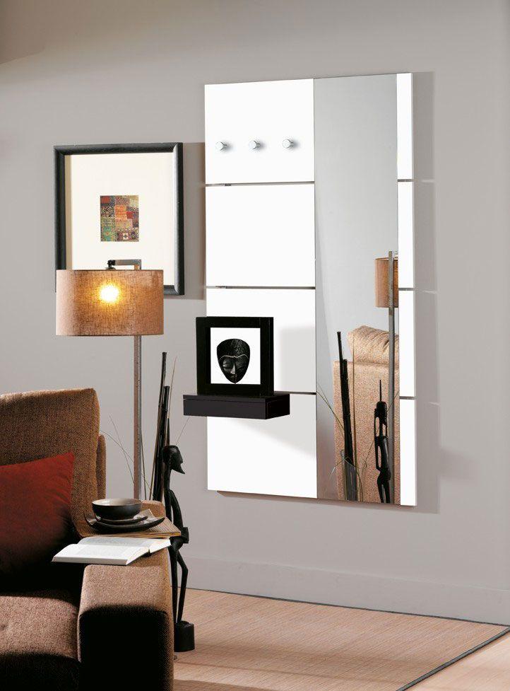 porte manteau mural design laqu blanc brillant laly avec miroir - Miroir Mural Blanc Simili Cuir Strass