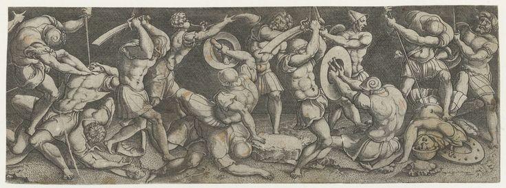 Gevecht tussen Romeinse soldaten, Monogrammist AC (16e eeuw), 1520 - 1562