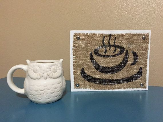 Coffee sign, Coffee decor, coffee burlap wood sign, kitchen decor, coffee shop, wood coffee sign, Coffee symbol, coffee wall art