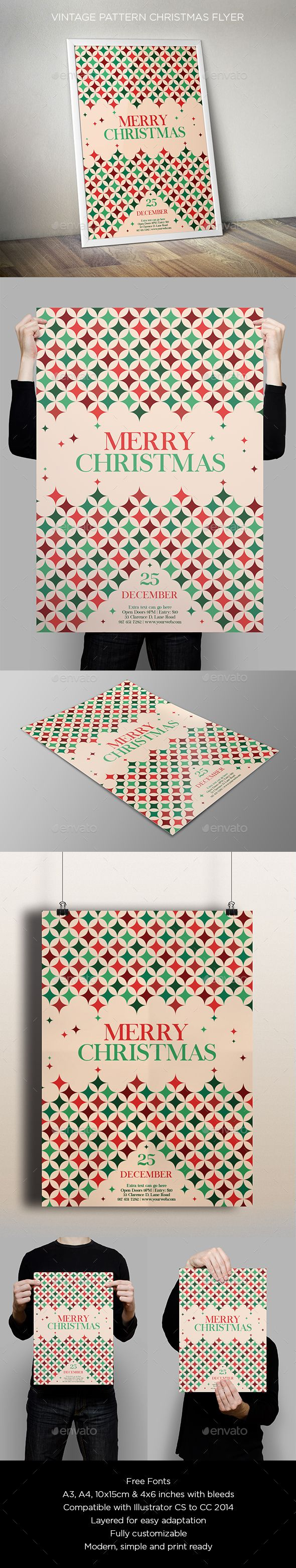 Vintage Pattern Christmas Flyer Template PSD #design Download: http://graphicriver.net/item/vintage-pattern-christmas-flyer/13556520?ref=ksioks