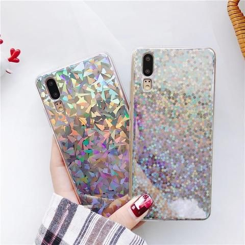 Luxury Glitter phone case For Huawei P20 Pro Case line laser Soft ...