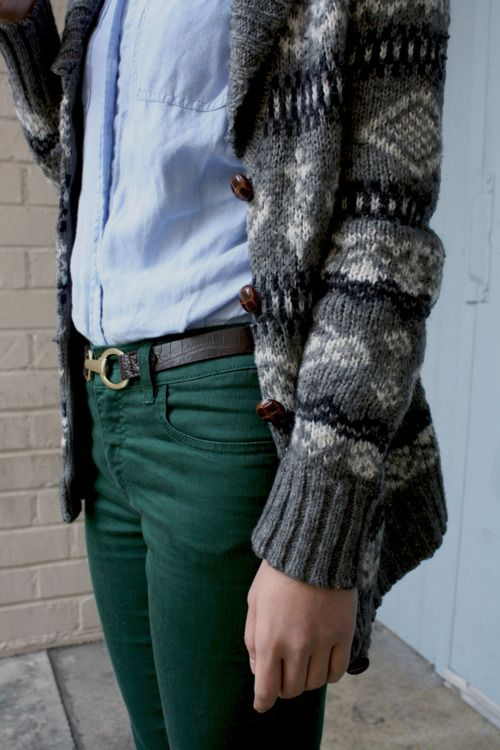 Green pants, casual.