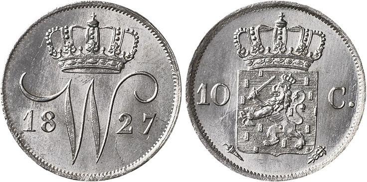 Koninkrijk der Nederlanden, Willem I (1772-1843), 'Dubbeltje' 10 Cents, 1827, Utrecht.