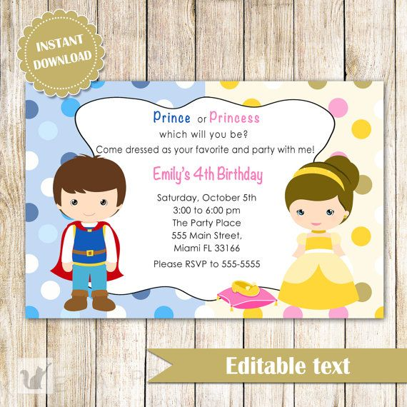 Impress your guests with this lovely printable prince and princess birthday invitation, ideal for girl or boy and costume party. Print as many as you