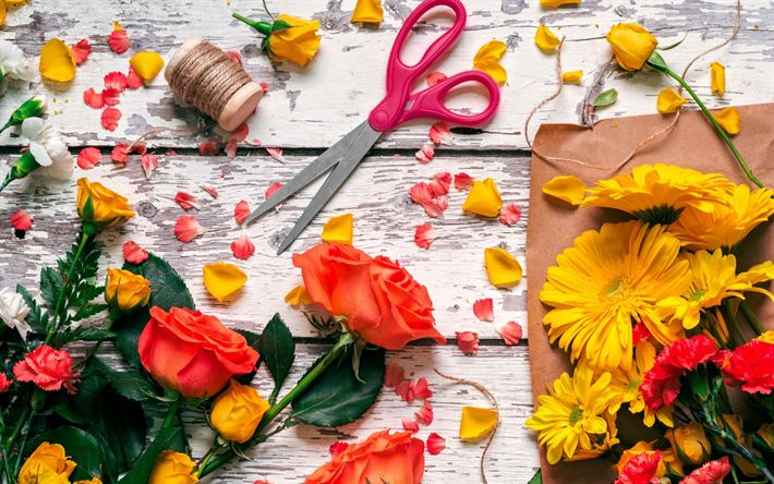 Scarica sfondi Fioristi, fiori, rose, forbici, rose rosse, fiorista