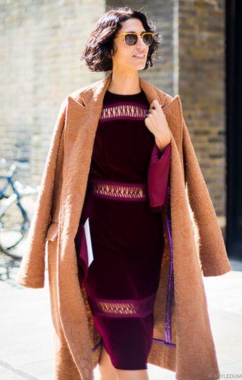 #Camelcoat + #burgundydress
