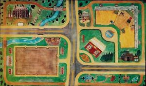 English Country Play Mat USA Kids Horseplay Road Rug for toy Horses Cars Breyer