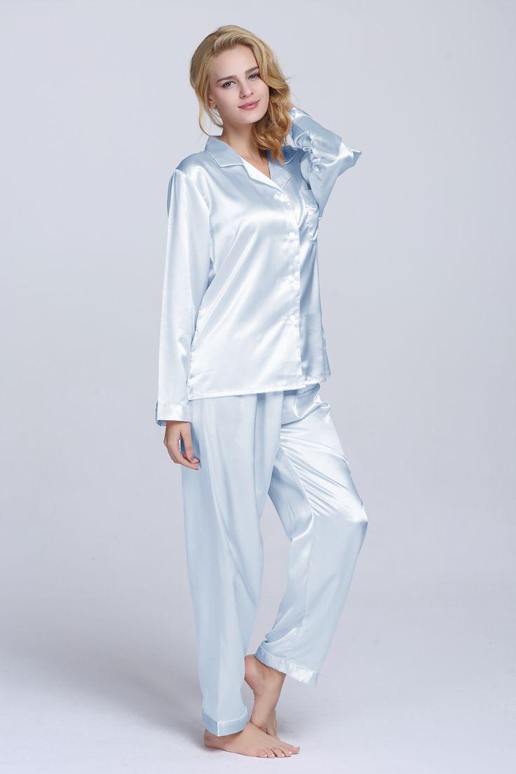 Perfect color in summer, nice tailored pajama set, silky satin fabric, smooth and soft.#pajamas#sleepwear#satin#Tony&Candice