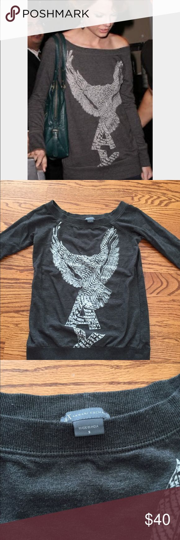 Armani Exchange off the shoulder sweatshirt As seen on Taylor Swift, Armani Exchange gray off shoulder burnout logo sweatshirt.  Can also be worn low on both shoulders.  Size small.  Tunic style, hits at the hips. A/X Armani Exchange Tops Sweatshirts & Hoodies