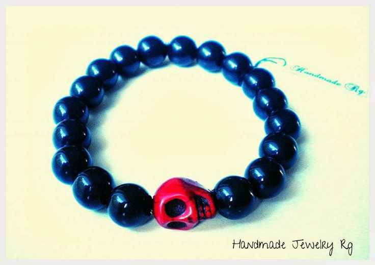 Handmade Jewelry Rg: Men's Bracelet -Red skull-