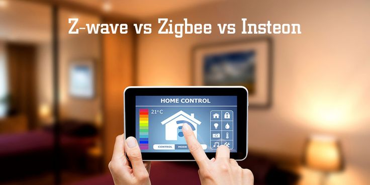 Overview of Z-wave vs Zigbee vs Insteon home automation protocols, pros/cons of each, and comparison table of which home security companies are compatible.