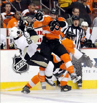 Claude Giroux wrecking Sidney Crosby