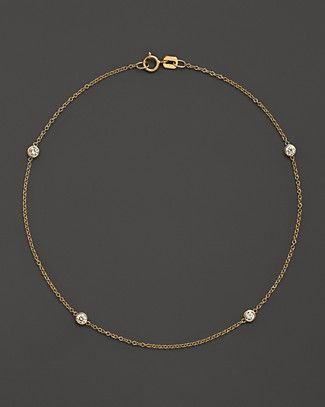 Diamond Bezel Ankle Bracelet in 14K Yellow Gold, .20 ct. t.w. | Bloomingdale's