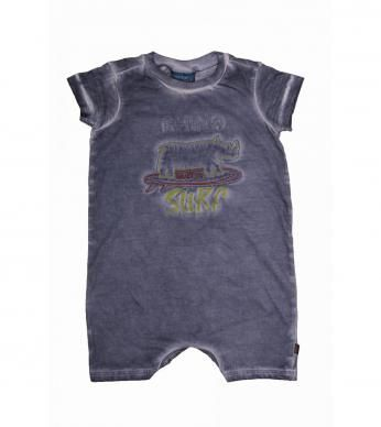 """Short-sleeved babygrow for baby boys, with a cold water dye and """"Rhino Surf"""" applique."""