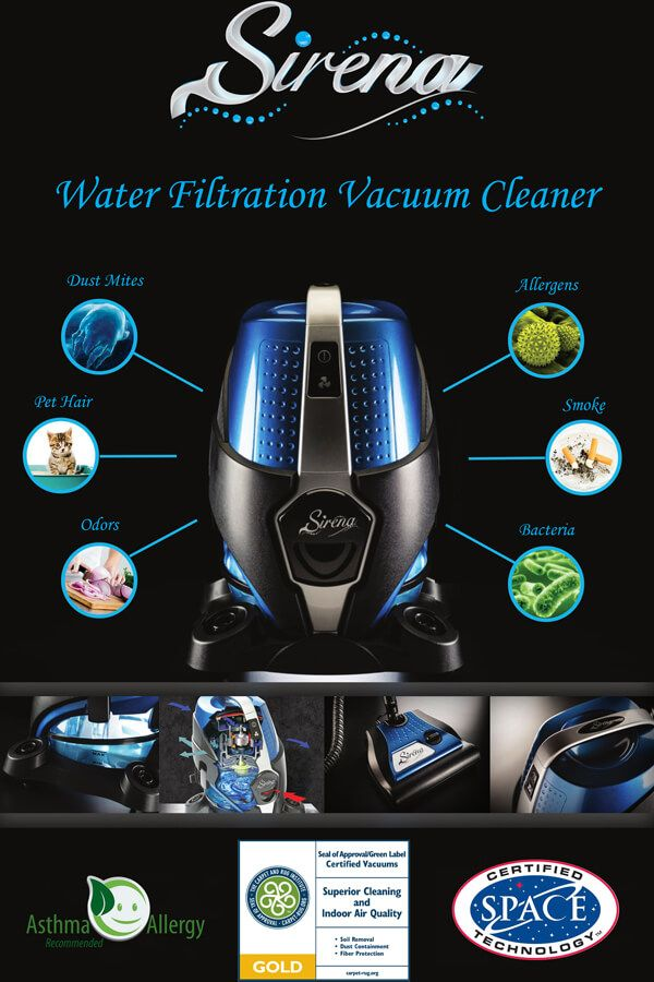 Sirena #Vacuum Cleaner features a water-based filtration technology which eliminates dust, allergens, and odors from the air you breathe. Free Shipping on all orders!