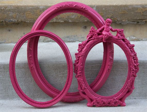 Hot Pink Oval Picture Frames  Ornate Cherub  Nursery by RetroPops, $45.00 - don't want to order these, but it reminds me that I can buy cheap frames and spray paint them any color I want.