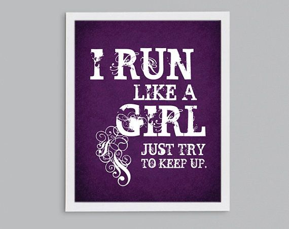 Run Like a Girl Quote Cross Country Running by StephLawsonDesign