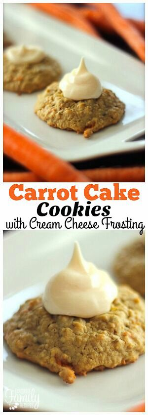 These Carrot Cake Cookies are a MUST for carrot cake lovers! You will love the cream cheese frosting. So many delicious flavors in one little cookie! via @favfamilyrecipz