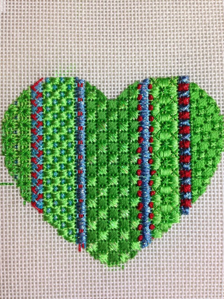 steph's stitching: Great sample of stitches in this needlepoint heart