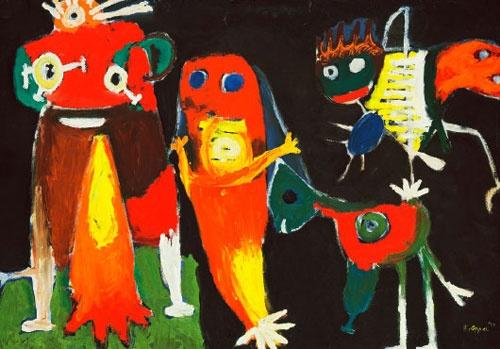 Karel Appel (1921-2006) Op 16 juli 1948 richtten Appel, Corneille en Constant samen met Anton Rooskens, Theo Wolvecamp, Jan Nieuwenhuys (de broer van Constant) en Tjeerd Hansma de Nederlandse Experimentele Groep op die later overgaat in CoBrA. In de loop van het daaropvolgende jaar kwam ook de Belgische schrijver Hugo Claus, in contact met deze beweging. Er was ook een dichtersgroep de experimentelen met o.a. Lucebert, Gerrit Kouwenaar, Remco Campert en Simon Vinkenoog.