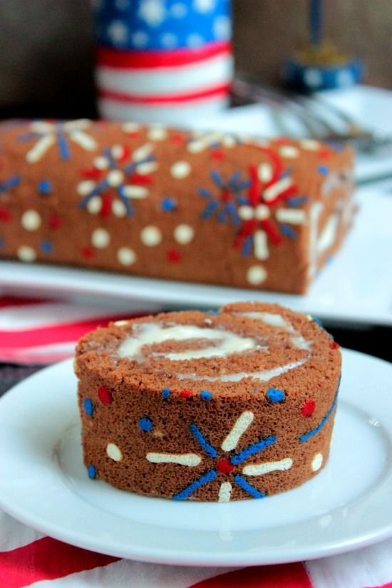 4th of July Fireworks Cake Roll. Use this technique to put any design you want on a roll-up sponge cake. What fun!