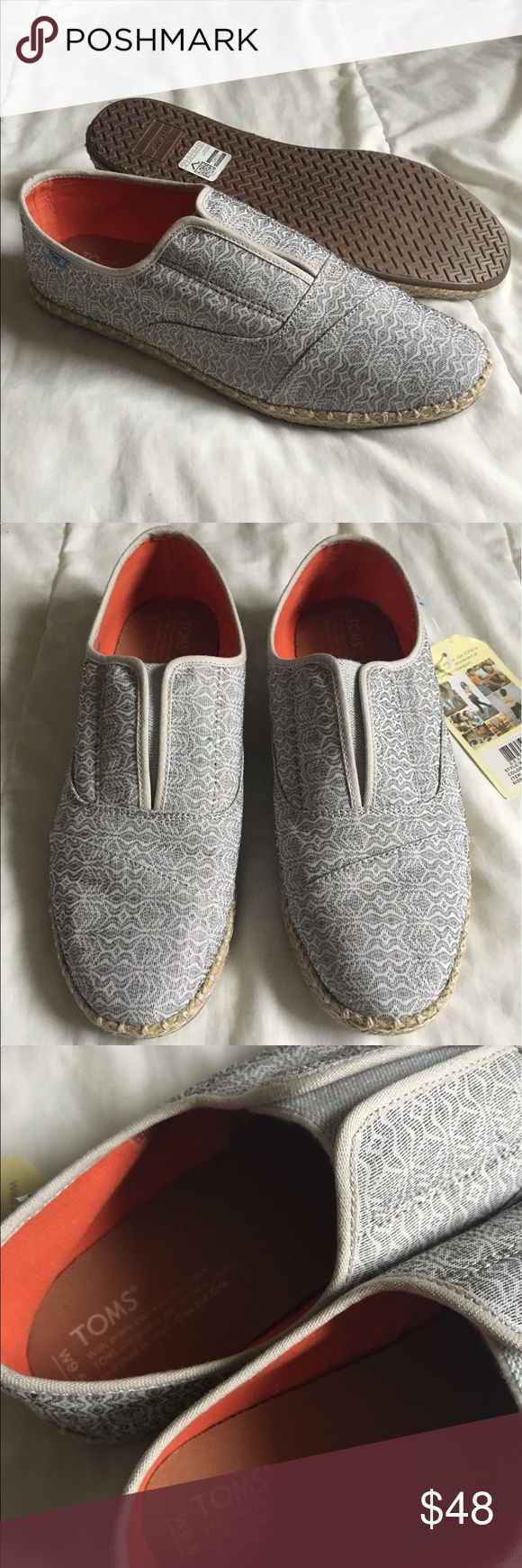 NWT Toms Palmera Tribal Shoes Super cute brand new grey patterned Toms. Perfect for summer! Love these but I like the classic style better 😅 TOMS Shoes Flats & Loafers