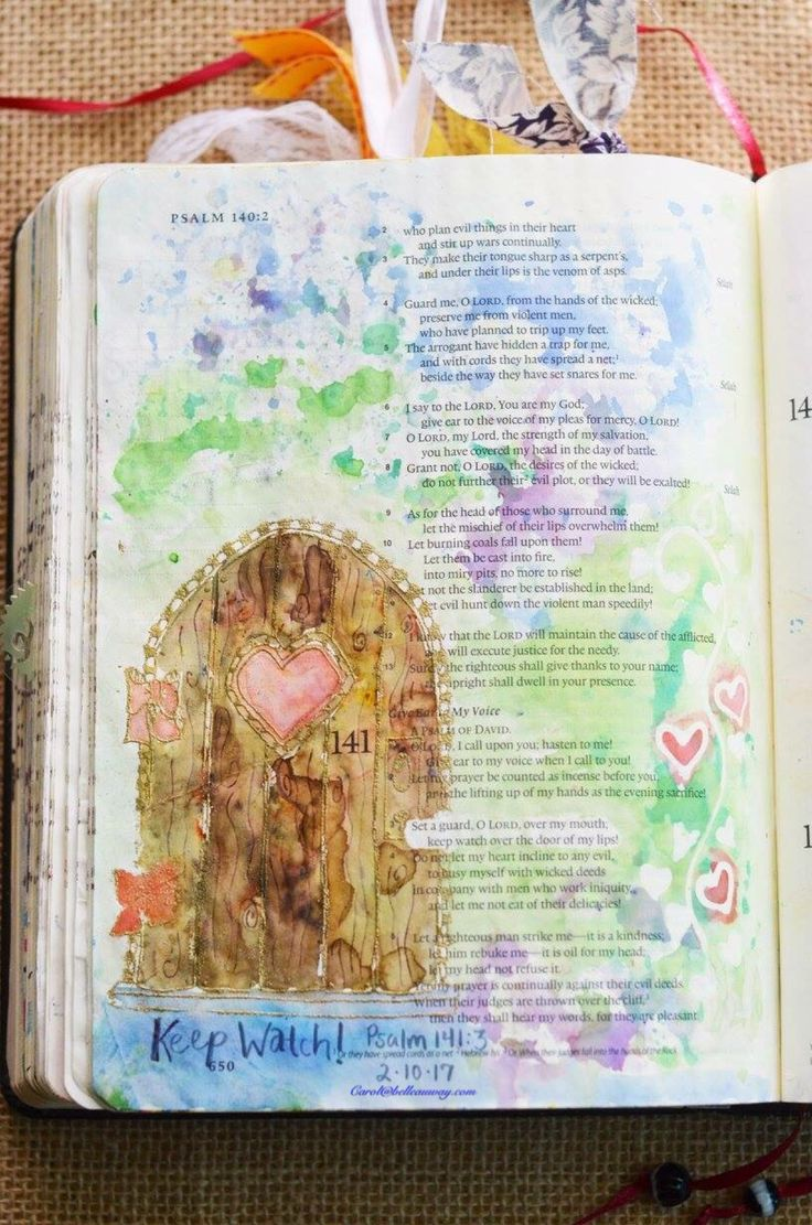 Psalm 141:3, February 10, 2017, carol@belleauway.com, Brusho watercolor crystals, page prepped with Liquitex Matte Gel medium, Illustrated Faith pen, Door stamp, Embossing ink and powder, bible art journaling, bible journaling, illustrated faith