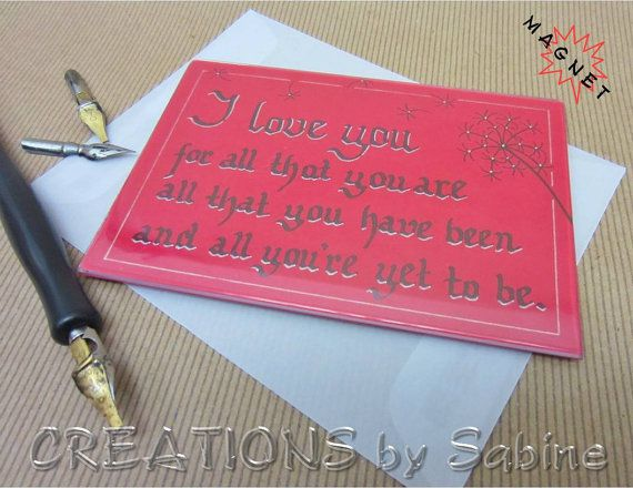 "Magnetic Frame I love you / Anniversary Gift Idea / Handwritten Calligraphy / Magnet / Original Art / Red / 5x3.5"" / READY TO SHIP by CREATIONSbySabine, $8.00"