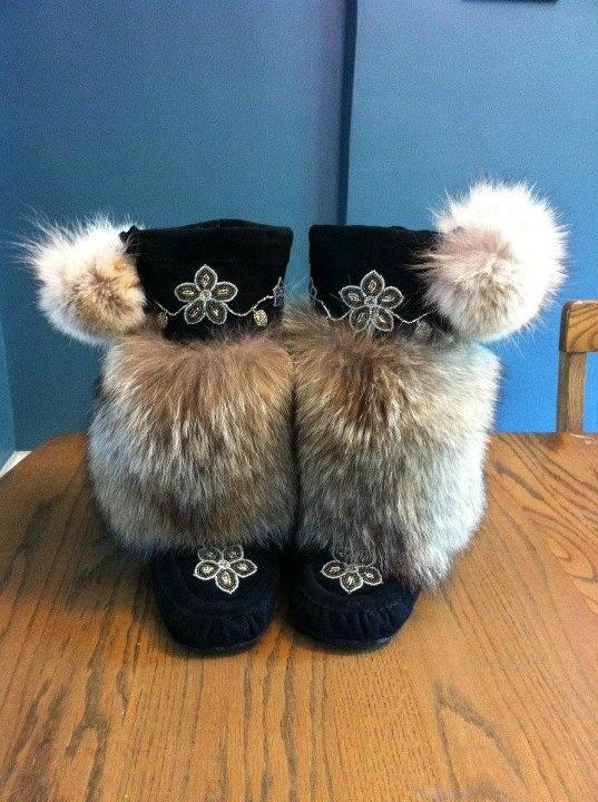 Custom coyote fur mukluks