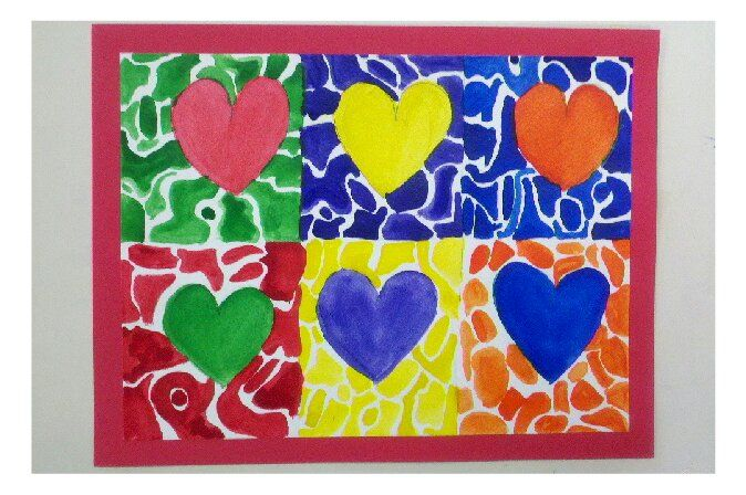 Jim Dine inspired art project I did with my 2nd grade class for Valentine's Day. Also a lesson in complimentary colors.