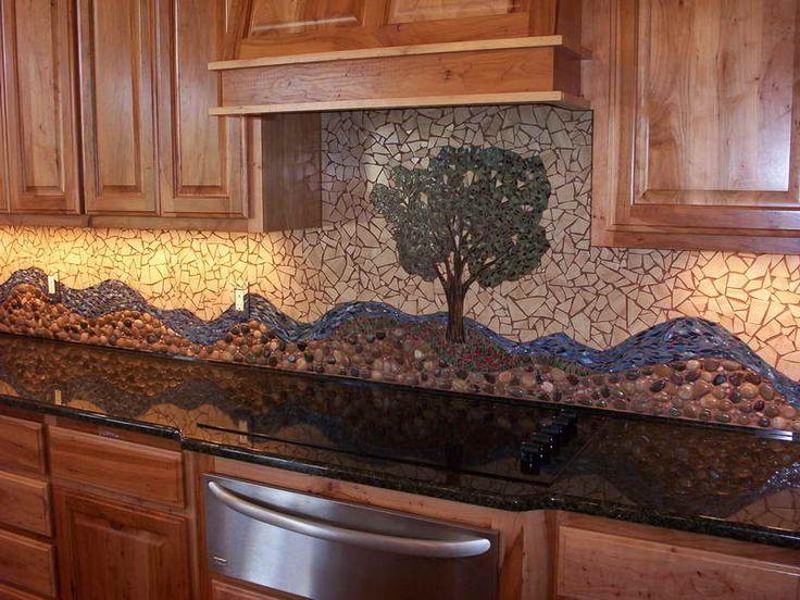 river rock backsplash design with nice pattern
