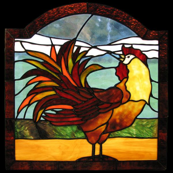 Rooster stained glass | Elizabeth Steinebach Stained Glass Artisan