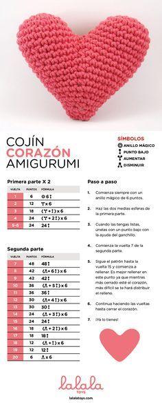 Cojín Corazón Amigurumi - Patrón Gratis en Español