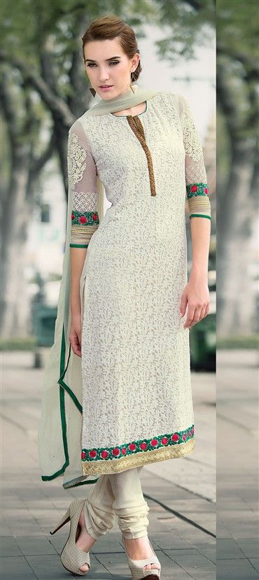 418474: White and Off White color family semi-stiched Party Wear Salwar Kameez.