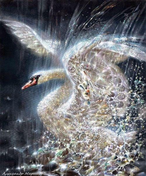 Swan. Shining painting by Alexander Maranov