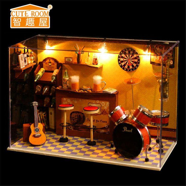 diy wooden handmade miniature the greens bar music bar dolls house home decor
