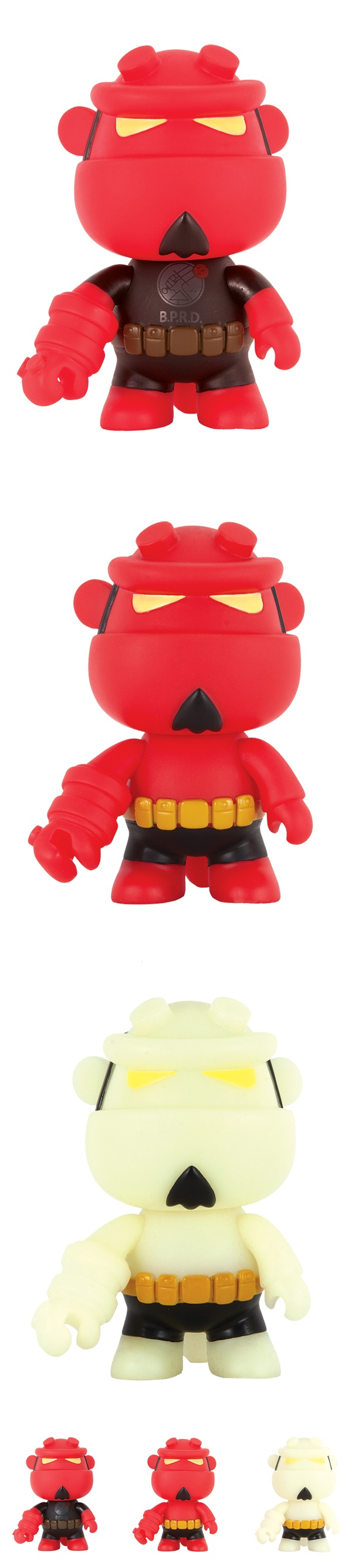 """At this year's International Toy Fair, Dark Horse revealed what is sure to be one of the year's most-talked-about toy releases! Hong Kong's innovative designer-toy company Toy2R will produce a new range of 5"""" vinyl figures in their popular """"Mini-Qee"""" format, putting their unique design spin on Mike Mignola's popular Hellboy character."""