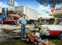 In Dan Hatala's classic car print, a couple of truck drivers share stories at a truck stop. One driver is a little boy hauling a load of pop bottles with a pedal car. Purchase ON THE ROAD AGAIN in an