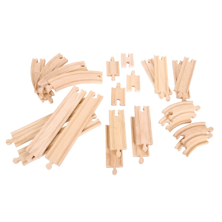 It's always a good idea to have plenty of spare track for when the time comes to expand! This extensive accessory pack includes 24 pieces of straight and curved track that'll stretch as far as the imagination allows. Also compatible with other leading wooden rail networks. Made from high quality, responsibly sourced materials. Ages 3 and up.  http://www.shop.bigjigstoys.us/products/productdetail/part_number=BJT057/12465.1.1.1