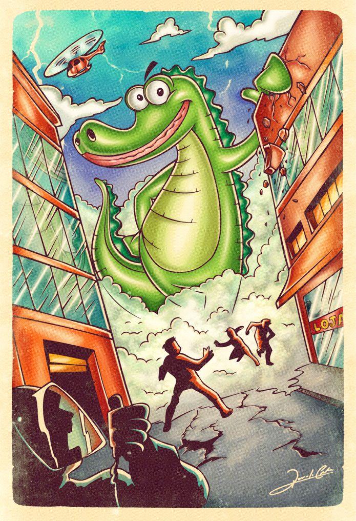 Ilustração feita para o comediante e blogueiro Rodrigo Fernandes do Jacaré Banguela. A arte mostra o mascote do blog tocando o terror na cidade, no melhor estilo Godzilla.